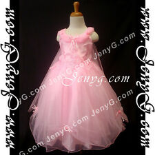 #PF11 Flower Girls/Holiday/Formal/Wedding/Party Gowns Dresses, Pink 3-14 Years