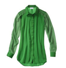 NEW! 3.1 Phillip Lim for Target Silky Chiffon Green Blouse Mixed media Hi-Low