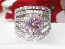 m80809PB PINK SAPPHIRE SOLITAIRE MARQUISE  & PAVE SIMULATED DIAMOND RING WOMENS