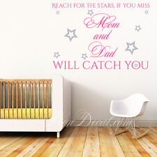 Reach for... Two-colour Wall Art Quote with Silver Stars / Kids Room Wall Decal
