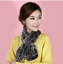 Womens Real Rex Rabbit Fur neck warmer  muffler scarf scarves wrap cape Coffee