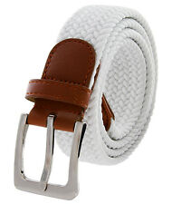 "White Fabric Leather Elastic Woven Stretch Belt 1-3/8"" Wide"