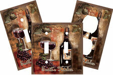 PERSONALIZED MEDITERRANEAN WINE GLASS GRAPES KITCHEN LIGHT SWITCH PLATE COVER