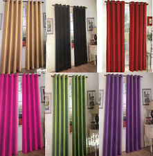 SOLID SHEER GROMMET FAUX  SILK WINDOW CURTAIN DROPES PANEL BLACK  RED WHITE ...