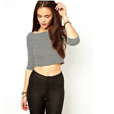 Casual Womens Striped Crop Top Loose Boat Neck Blouse Cotton T-Shirt Tee Trendy