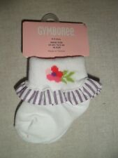 Gymboree TROPICAL PETALS Purple White Striped Flower Ruffle Socks NWT 0-3 3-6