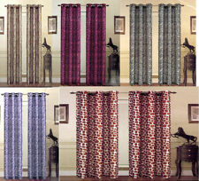 2 PANELS ANIMAL PRINTED ZEBRA LEOPARD GIRAFFE SEMI-SHEER GROMMET WINDOW CURTAIN