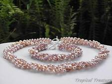 LILAC 3-Row Freshwater Pearl Set - 925 SOLID Silver clasp