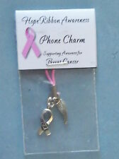 NEW CAUSE AWARENESS HOPE RIBBON PHONE CHARM WITH ANGEL WING *VARIOUS*