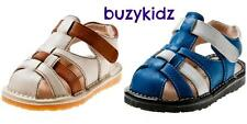 NEW Boys Toddler Blue Cream Sandal Shoes. Little Blue Lamb. Sizes 3-7. Squeaky