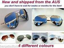 New Classic Extra Large Aviator Sun-Glasses Silver Mirror Spring Hinge Metal Arm