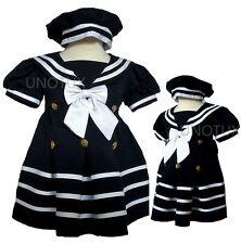 Baby Girl Toddler Formal Nautical Sailor Party Dress Navy Size S M L XL 2T 3T 4T
