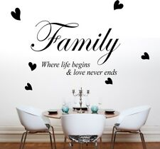 FAMILY WHERE LIFE BEGINS wall art quote decal love heart bedroom stickers vinyl