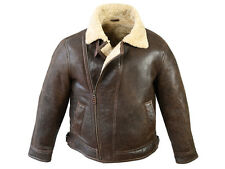 Mens Gents Genuine Sheepskin Lined Leather Aviator Flying Jacket In Choco Forest