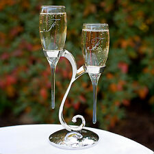Raindrop Wedding Toasting Flutes Glasses w/ Swirl Stand can be Personalized