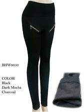 N21 TREND High Waist Brushed Fleece Leggings Thick 2 Zipper Warm Pants 9050