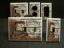LAUNDRY ROOM WITH VINTAGE FLAT IRON COOL LIGHT SWITCH OR OUTLET COVER V472