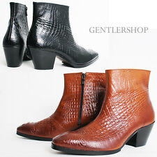 MENS SHOES 7Cm Kill Heel Crocodile Pattern Leather Ankle Boots 5087, GENTLERSHOP
