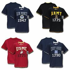 Military Air Force Army Marines USMC Coast Guard Pitch Double Layer Tee T-Shirts