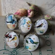 """WINGED POST"" Vintage Glass Cameo Rings with Birds, Butterfly & Postcards Boho"
