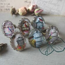 """""""GILDED CAGE"""" Vintage Glass Cameo Rings with Birds, Birdcages Floral Rose Boho"""