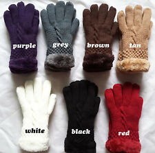 Women's Warm Winter Knit Gloves Mittens One Size Fur Lining