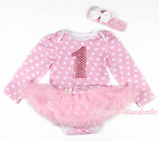 Pink Sparkle 1ST Pink White Dot Long Sleeve Bodysuit Pink Skirt Dress NB-18Month