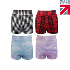 Womens Ladies Dogtooth Tartan Print High Waisted Stretch Party Shorts 8-14