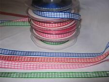 3 METRES X 10MM GINGHAM RIBBON-VARIOUS COLOURS-NEW