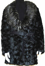 LADIES FAUX FUR BLACK BELTED JACKET COAT WITH FUR COLLAR S, M, L, XL