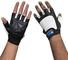 DAM Leather Weight lifting Gym Gloves, Bodybuilding, Slim Fit UniSex White S-XL