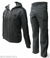 Adidas Mens Hooded Flock Tracksuit Charcoal/Black Size S, M, L, XL