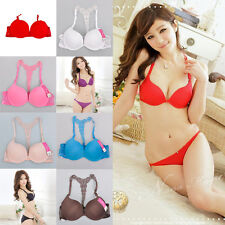 New Womens Sexy Front Closure Lace Racer Back Racerback Push Up Bra