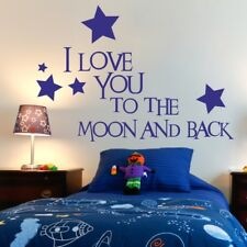 I LOVE YOU TO THE MOON AND BACK wall sticker nursery bedroom quote decal vinyl