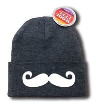 "NEW MEN WOMEN PRINTED ""MUSTACHE"" Snowboard SKI HIP HOP Long Beanie HAT ONE SIZE"