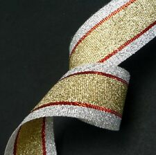 """Silver / Gold  with Red Stripes Metallic Ribbon Row Craft DIY 1"""" / 2.54 cm MR23"""