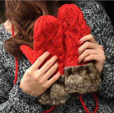 new Bilayer Fashion Women girl warm mittens cute winter thick quality Gloves