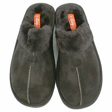 NEW! MEN'S HOUSE SLIPPERS WITH FAUX FUR - INDOOR OUTDOOR HOME - BLACK - S6288M-2