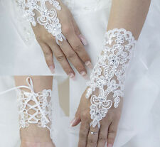 Wedding Bridal Gloves Accessory Beaded Lace Sexy fingerless gloves