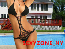 Sexy Women Hand Made Crochet Monokini One Piece Swimwear Lady Swimsuit Lined In