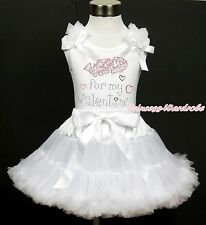 Sparkle Rhinestone Wild For My Valentine White Top Shirt White Pettiskirt 1-8Y