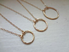 14K Gold Filled Hammered Circle Eternity Circle Charm Pendant Necklace Handmaded