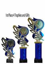 Blue and Gold Leafed Trophy Award - Snooker, Tennis, Shooting FREE ENGRAVING