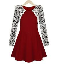 3014 Spring New Fashion Casual Dress for Women Long  Lace Sleeve Above Knee