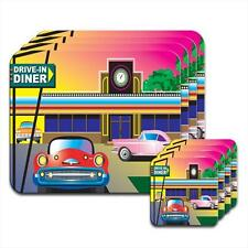 1960s Drive In American Diner Scene Hardwood Coasters / Placemats