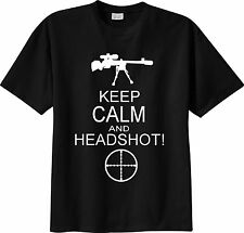 T-SHIRT call of duty battlefield sniper cecchino KEEP CALM AND HEADSHOT mmo fps