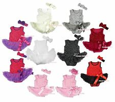 Valentine Romantic Floral Rose Skirt Bow Baby Dress Bodysuit 2PC Set NB-18Month