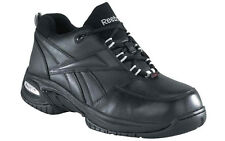 REEBOK Mens COMP TOE Athletic Oxford Shoes Sneakers Black Leather RB4177