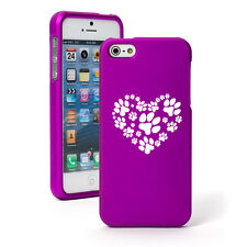 For iPhone 4 4S 5 5S 5c Purple Rubber Hard 2 Piece Case Cover Heart Paw Prints
