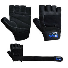 DAM  Gym Weight lifting body building gloves Gym Straps Bar Cowhide Leather